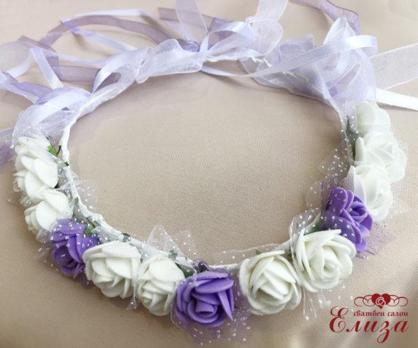 Венец-диадема от рози в бяло и  лилаво